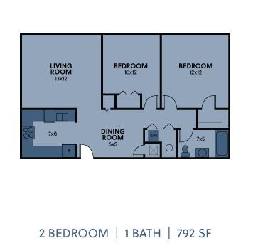 Regency Apartments 2 Bedroom 1 Bathroom 792 SF Floorplan