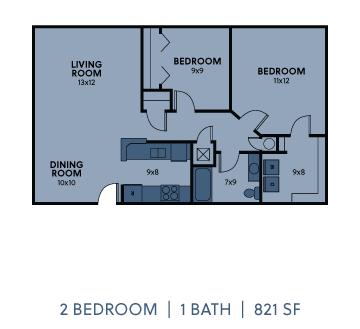 Regency Apartments 2 Bedroom 1 Bathroom 821 SF Floorplan