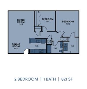 2 Bedroom 2 Bath Small