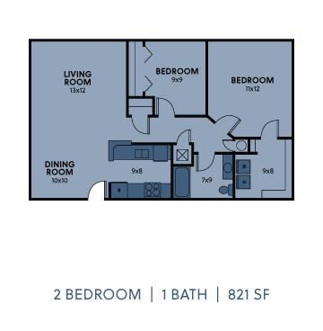 Regency Apartments 2 Bedroom 2 Bathroom 902 SF Floorplan