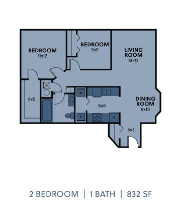Regency Apartments 2 Bedroom 1 Bathroom 832 SF Floorplan