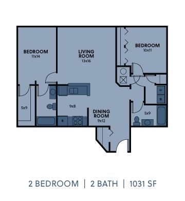 Regency Apartments 2 Bedroom 2 Bathroom 1031 SF Floorplan