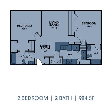 Regency Apartments 2 Bedroom 2 Bathroom 984 SF Floorplan