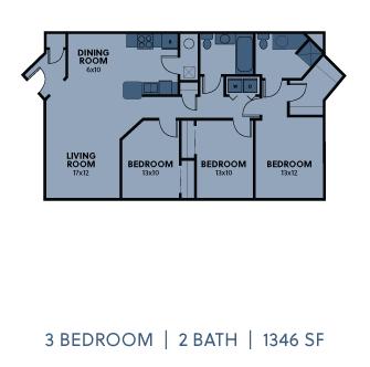 Regency Apartments 3 Bedroom 2 Bathroom 1346 SF Floorplan