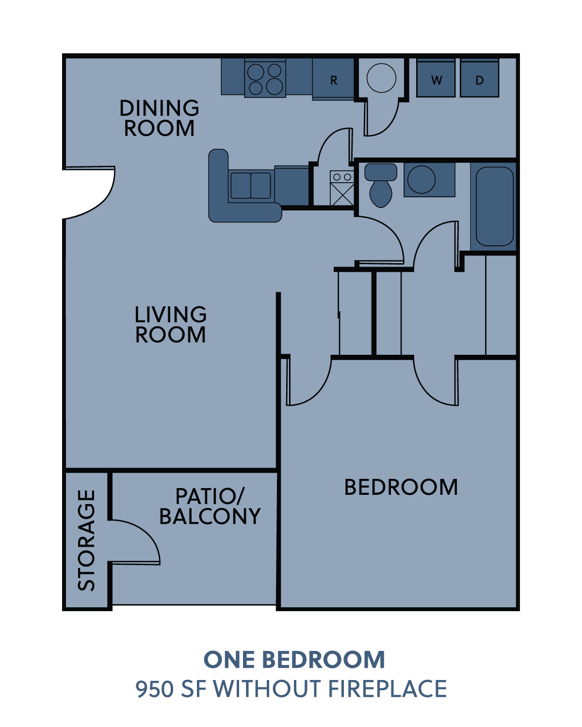 1 bedroom without fireplace