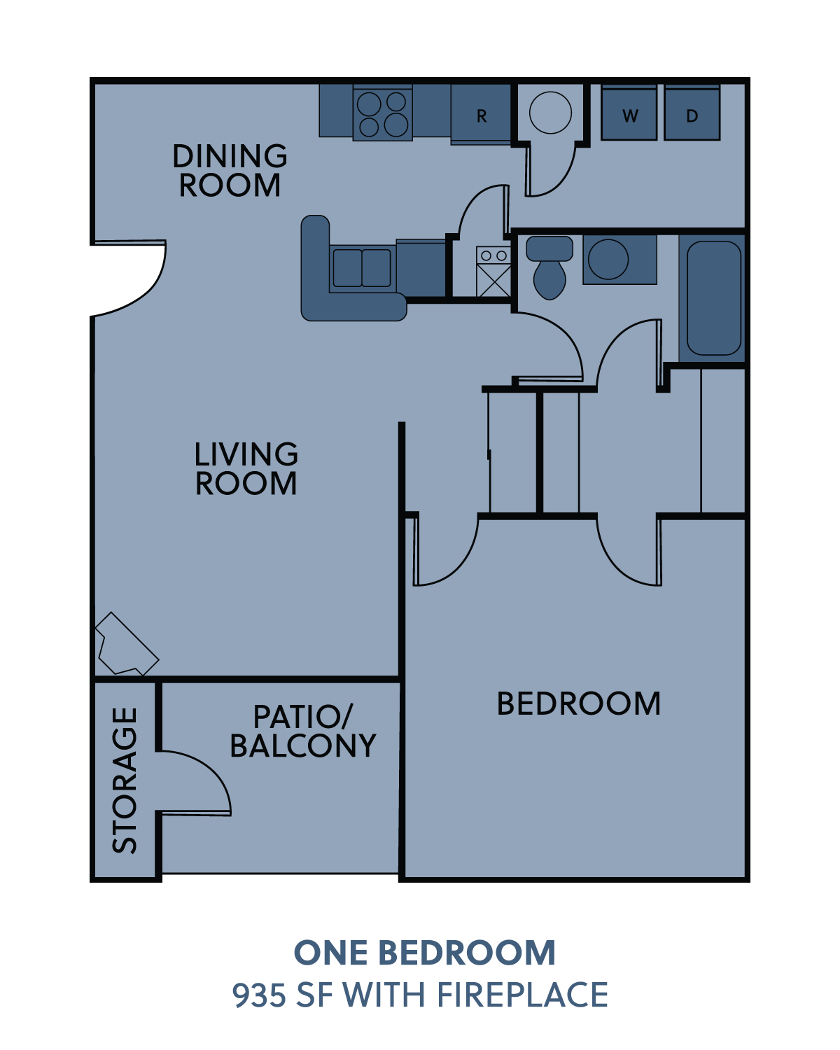 1 bedroom with fireplace