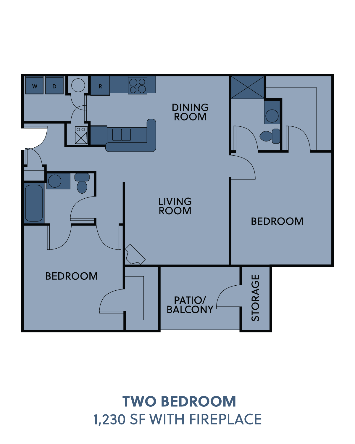 2 bedroom with fireplace