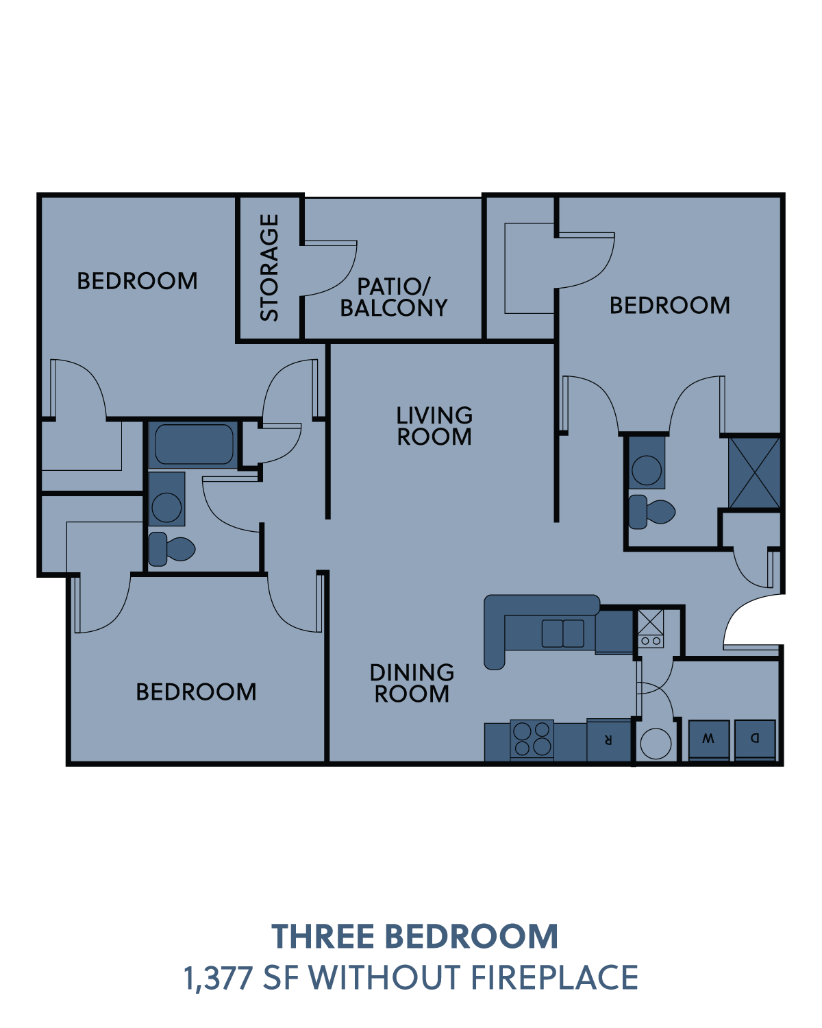 3 bedroom without fireplace