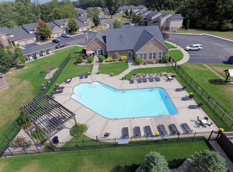 Aerial View Of Pool at Heritage Trail Apartments, Terre Haute