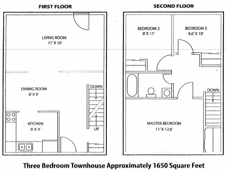 Floor plan of 3 bed, 1 bath, deluxe suite with balcony access at Tamarack Woods in Barrie, ON