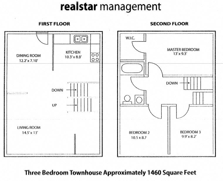 Floor plan of 3 bed, 1 bath, high quality units with balconies at Tamarack Woods in Barrie, ON