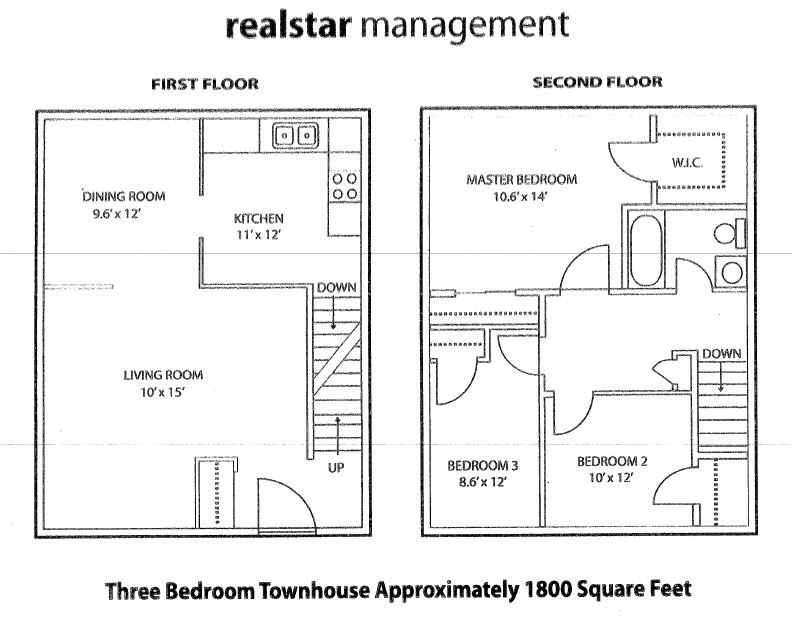 Floor plan of 3 bed, 1 bath, contemporary, luxury unit at Tamarack Woods in Barrie, ON