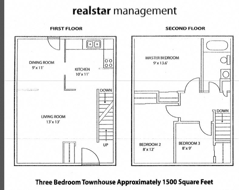 Floor plan of 3 bed, 1 bath, upscale unite with views of the city in Tamarack Woods in Barrie, ON