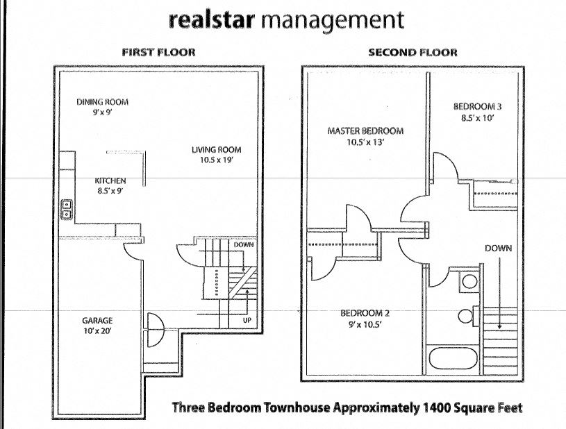 Floor plan of 3, 2 bath with garage at Tamarack Woods in Barrie, ON