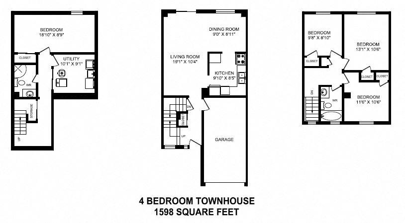 Floor plan of 4 bed, 2 bath, high end modern suite at Tamarack Woods in Barrie, ON