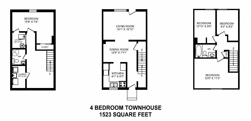 Floor plan of 4 bed, 2 bath, classic quality units and upscale design at Tamarack Woods in Barrie, ON