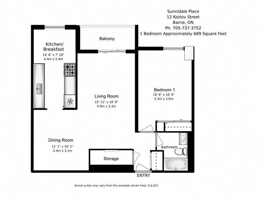 Floor plan of 1 bed, 1 bath, modern apartment with balcony at Sunnidale Place in Barrie, ON