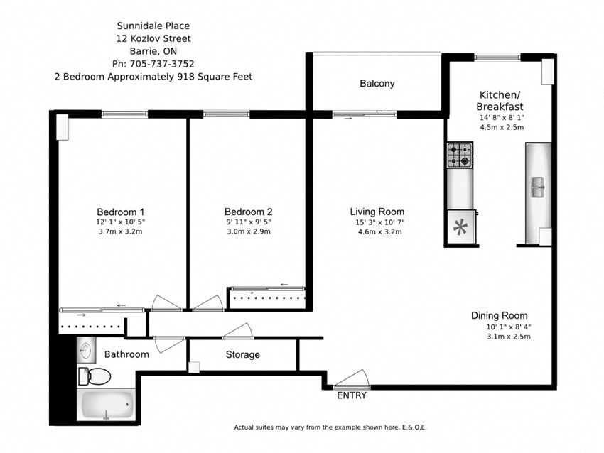 Floor plan of 2 bed, 1 bath, modern classic apartment with balcony at Sunnidale Place in Barrie, ON