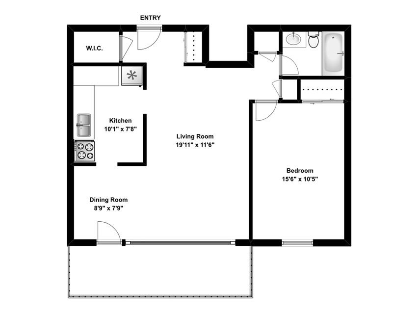 One bedroom, one bathroom apartment layout at The Parkwood in Bellville, ON