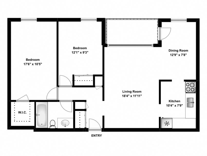 Two bedroom, one bathroom apartment layout at The Parkwood in Bellville, ON