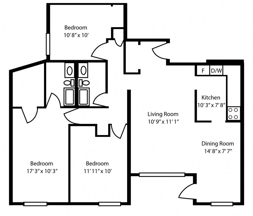 Three bedroom, one bathroom apartment layout at The Parkwood in Bellville, ON