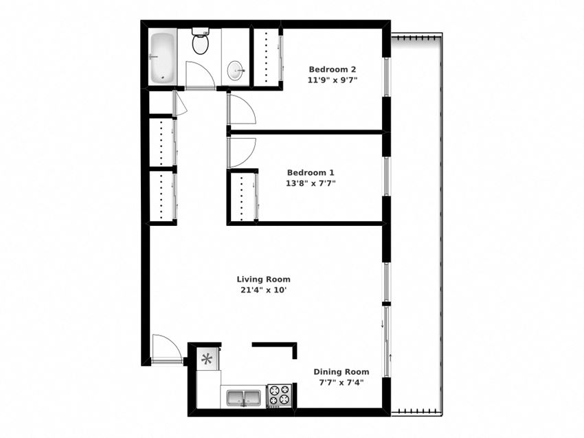 Floor plan of 2 bed, 1 bath, open concept apartments with balcony access at Bradford Place in Bradford, ON