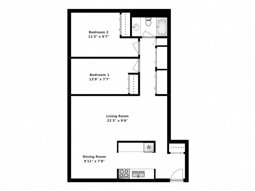 Floor plan of 2 bed, 1 bath, generous suites with balcony access at Bradford Place in Bradford, ON