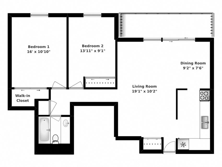 Floor plan of 2 bed, 1 bath, spacious apartments with balconies at Bradford Place in Bradford, ON