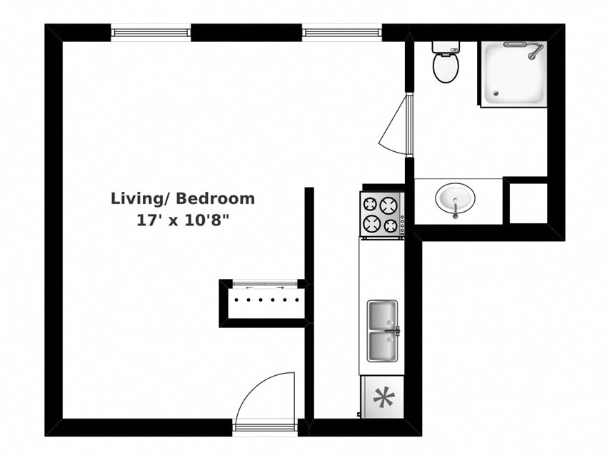 Floor plan of studio, 1 bath, open concept suite at Bradford Place in Bradford, ON