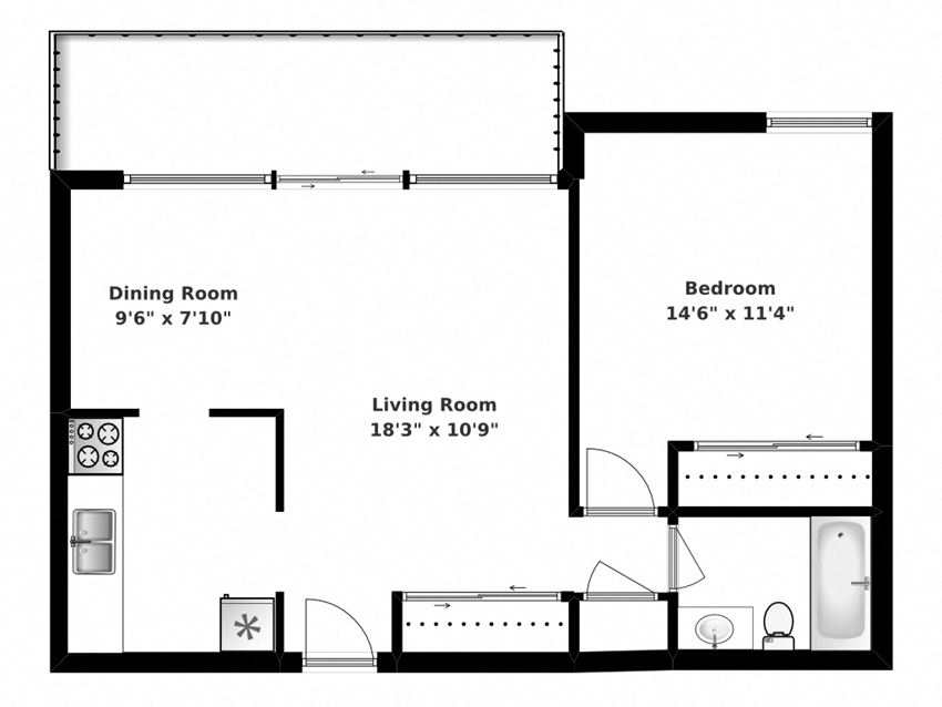 Floor plan of 1 bed, 1 bath, generous, bachelor apartments at Park Place in Bradford, ON