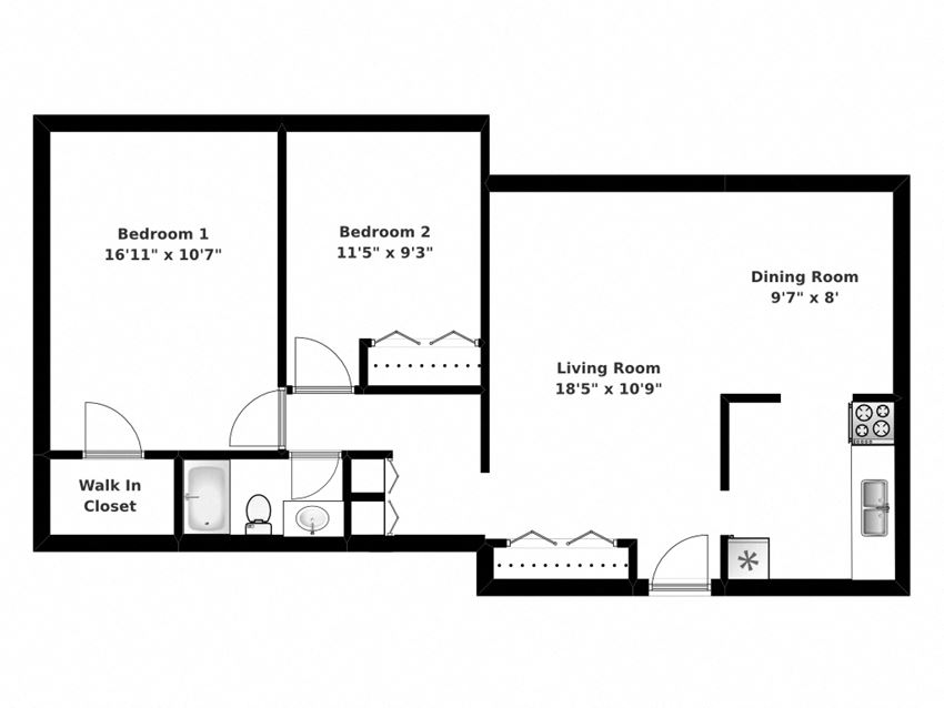 Floor plan of 2 bed, 1 bath, upscale, elegant apartments at Park Place in Bradford, ON