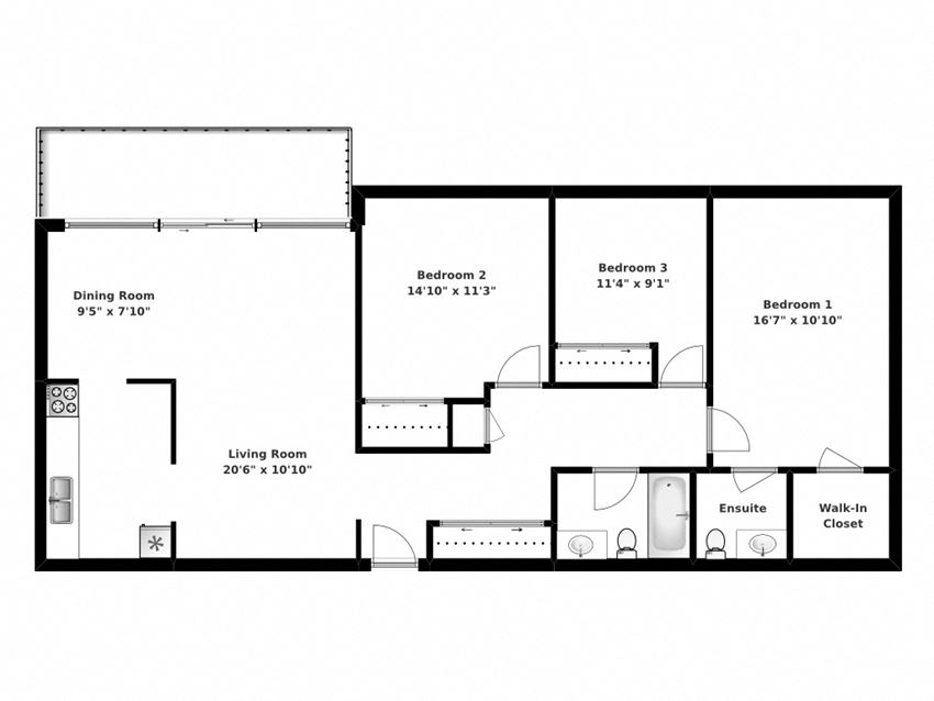 Floor plan of 3 bed, 2 bath, premium units with terrace access at Park Place in Bradford, ON