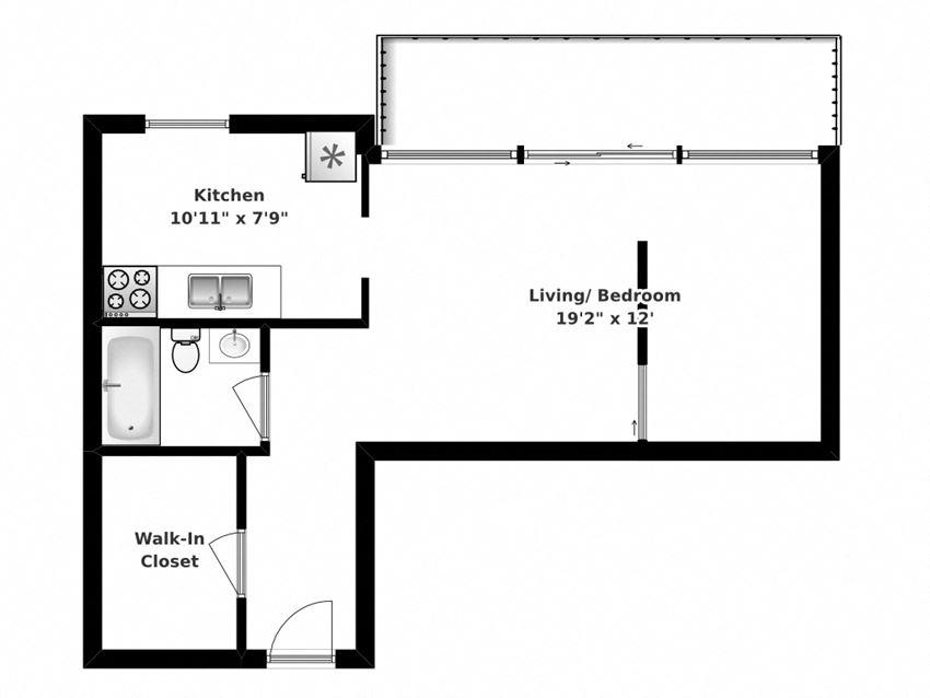 Floor plan of studio, 1 bath, spacious single suite at Park Place in Bradford, ON