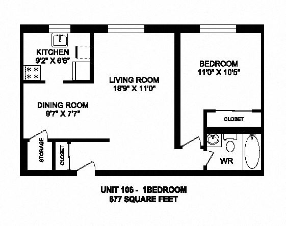 One bedroom, one bathroom apartment layout at Kensington Apartments in Brockville, ON