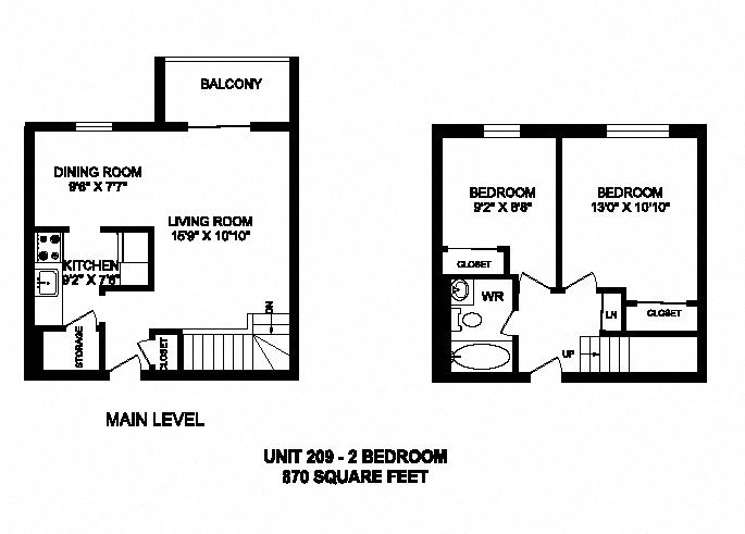 Two bedroom, one bathroom apartment layout at Kensington Apartments in Brockville, ON