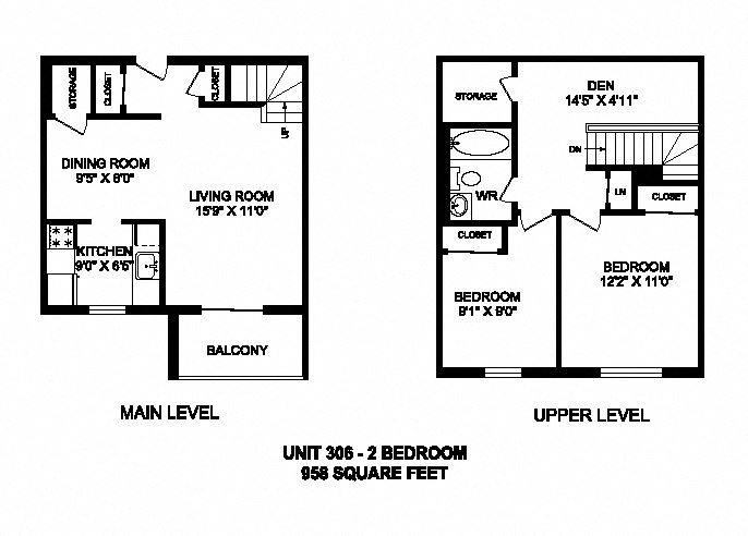 Two bedroom plus den, one bathroom apartment layout at Kensington Apartments in Brockville, ON
