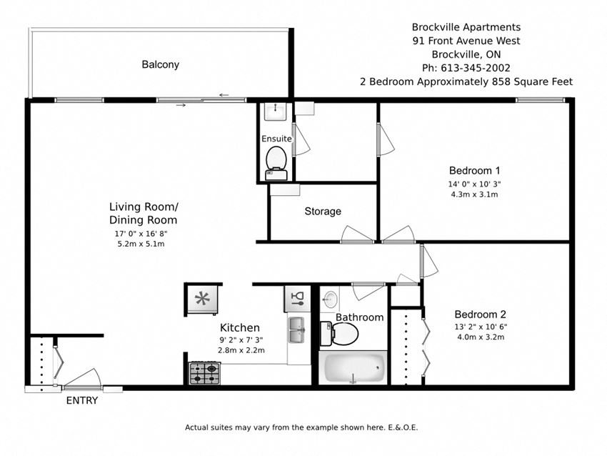 Two bedroom, one bathroom apartment layout at Brockville Apartments in Brockville, ON