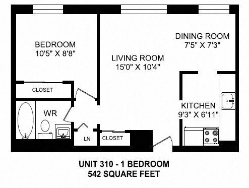 One bedroom, one bathroom apartment layout at Brockville Apartments in Brockville, ON