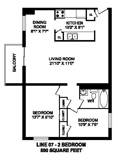 Two bedroom, one bathroom apartment layout at Trillium Apartments in Cobourg, ON