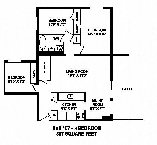 Three bedroom, one bathroom apartment layout at Trillium Apartments in Cobourg, ON