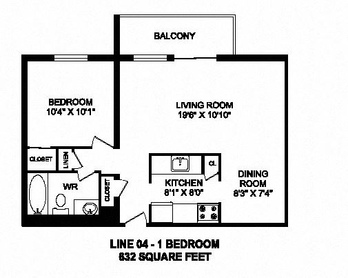 One bedroom, one bathroom apartment layout at Trillium Apartments in Cobourg, ON