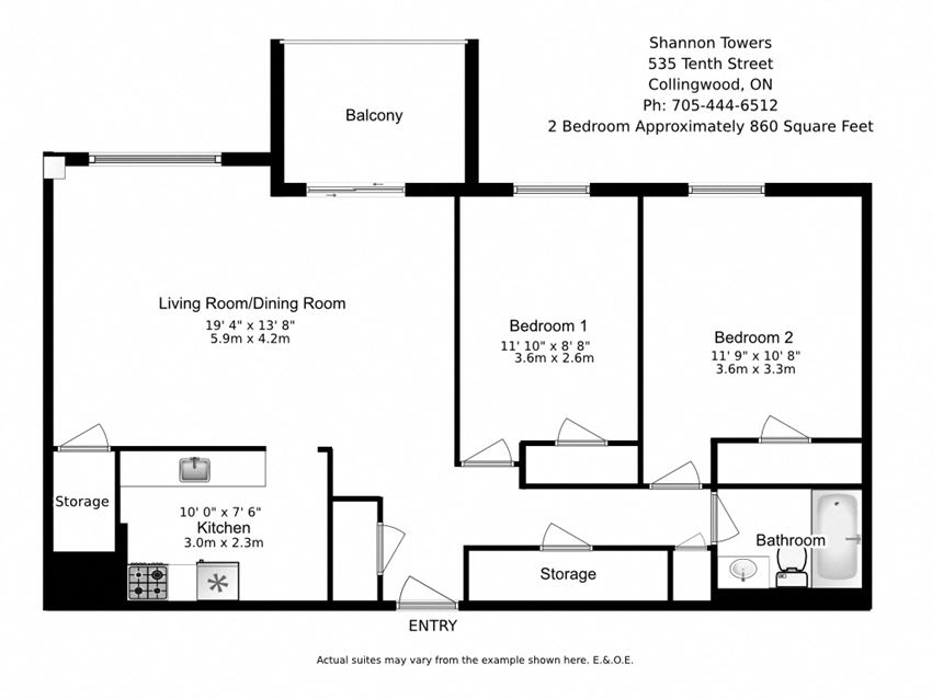Floor plan of 2 bed, 1 bath, spacious luxury apartment at Shannon Towers in Collingwood, ON