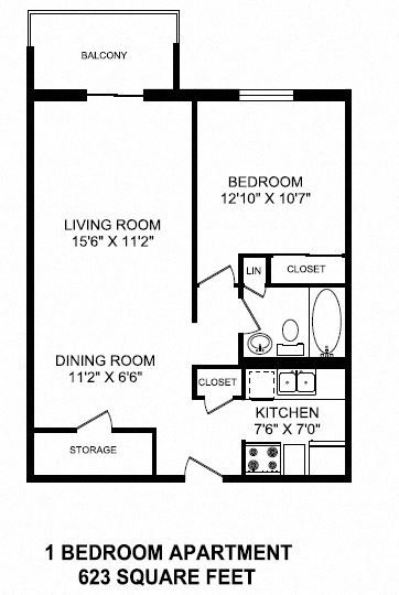 Floor plans of 1 bed, 1 bath, open concept, modern apartments at Mountain View in Collingwood, ON