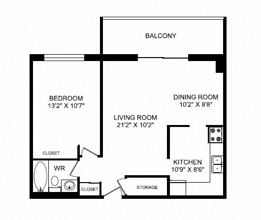 One bedroom, one bathroom apartment layout at Silvercreek Towers in Georgetown, ON
