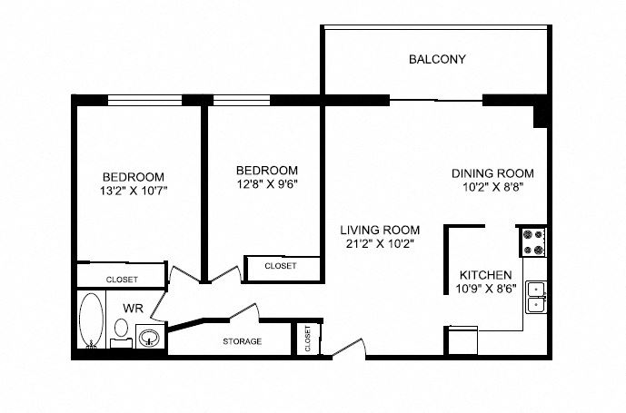 Two bedroom, one bathroom apartment layout at Silvercreek Towers in Georgetown, ON