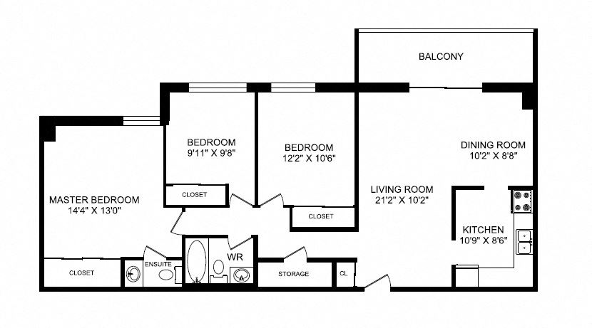 Three bedroom, one bathroom apartment layout at Silvercreek Towers in Georgetown, ON