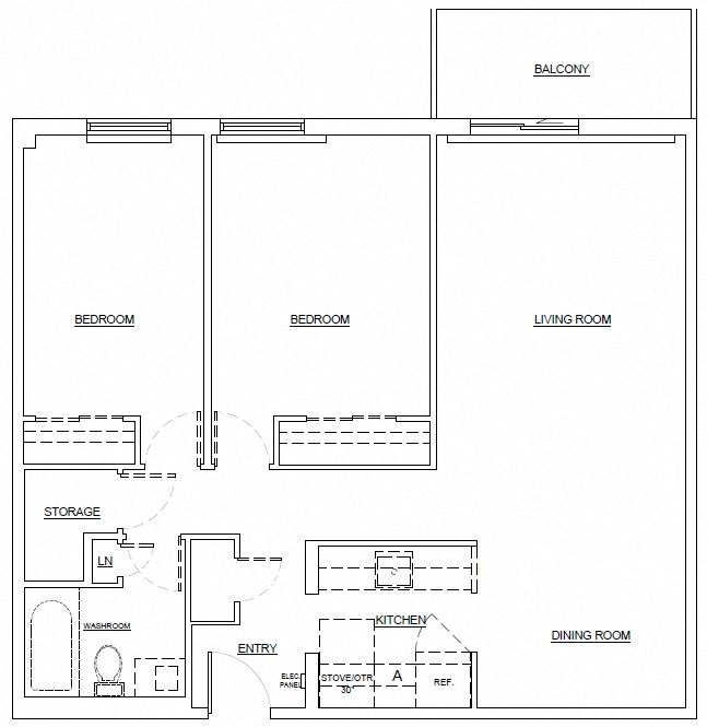 Two bedroom, one bathroom apartment layout at Leamington Heights in Leamington, ON