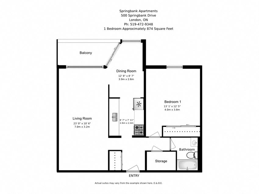 One bedroom, one bathroom apartment layout at Springbank Apartments in London, ON
