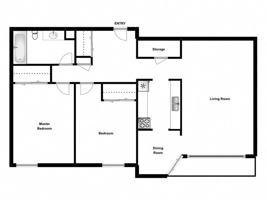 Two bedroom, one bathroom apartment layout at Springbank Apartments in London, ON