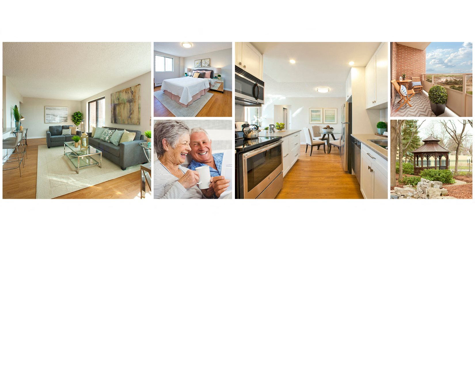 Collage of interior, exterior, and lifestyle images at Millside Tower in Milton, ON